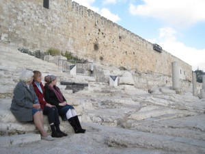 Mom, me and Maya in Jerusalem on the Temple Mount steps