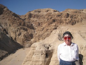 Mom at the cave of the Dead Sea scrolls